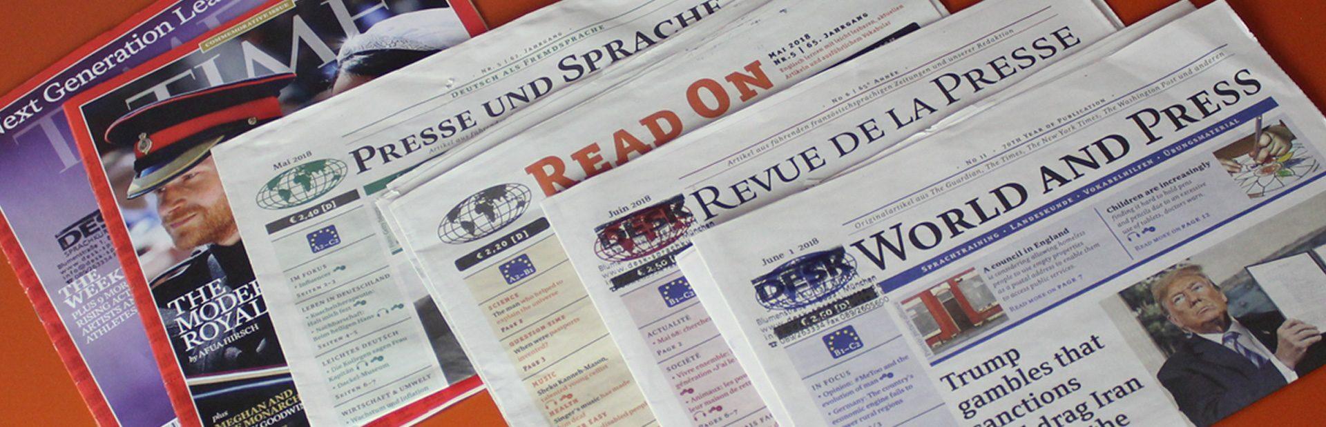 DESK Sprachkurse, Sprachzeitungen für den Unterricht